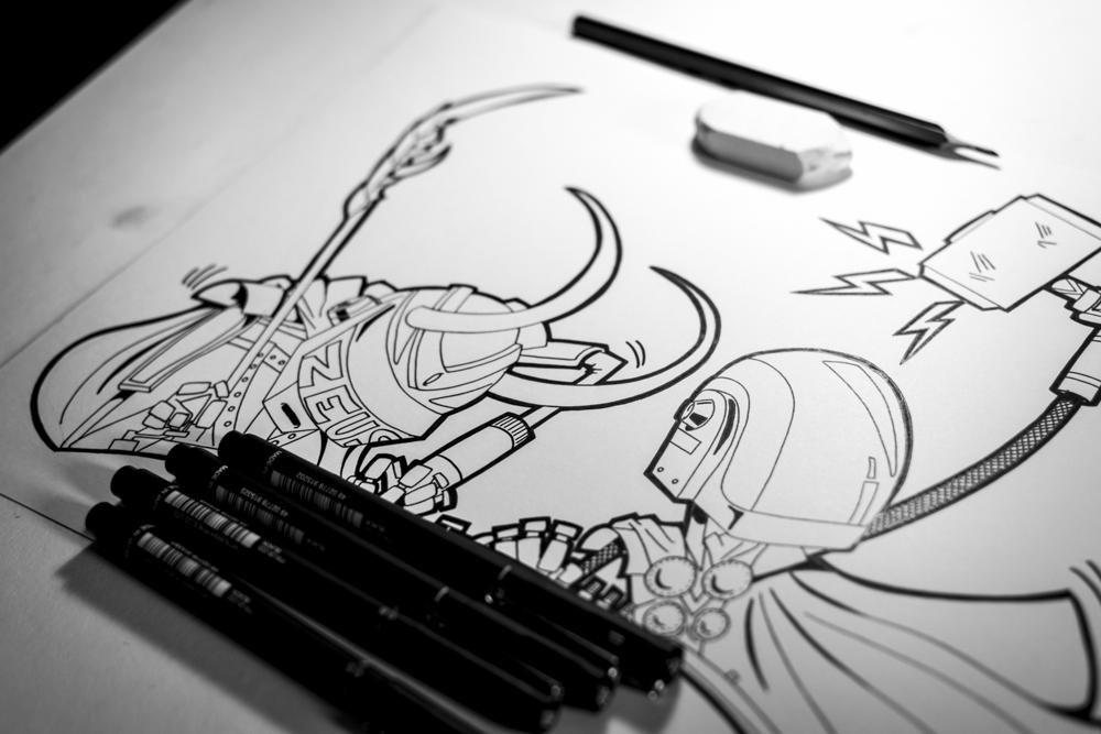 illustration marvel daft punk fan art get loki processus creatif jb mus