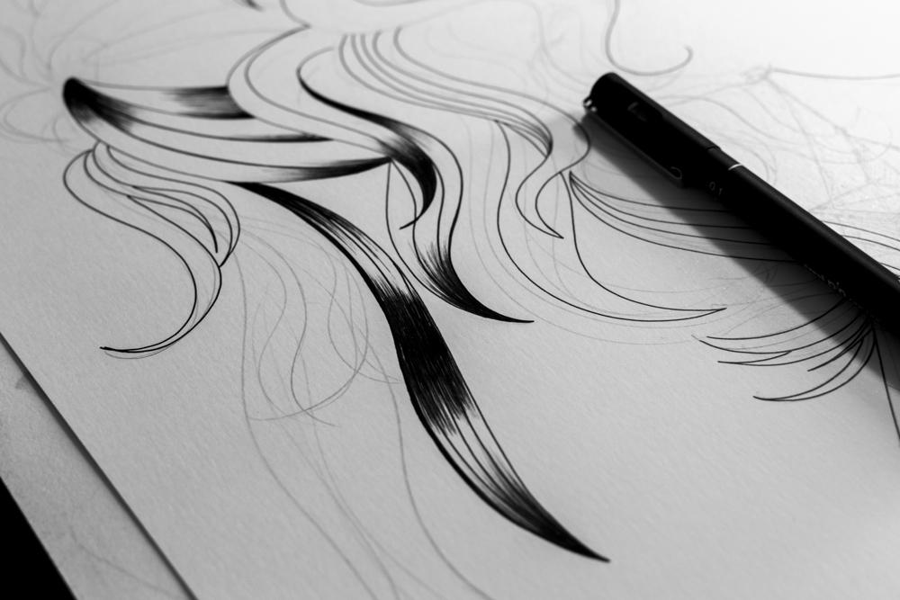 Wonder Woman fan art - Le derrière de la guerrière - Processus créatif 04 - Illustration : Jean-Baptiste MUS Illustrateur Toulon - Dimensions : 50x65 cm - Support : Papier Bristol blanc 250G/m2 - Technique : Crayon 2H, marqueur, feutre, stylo, encre de chine.