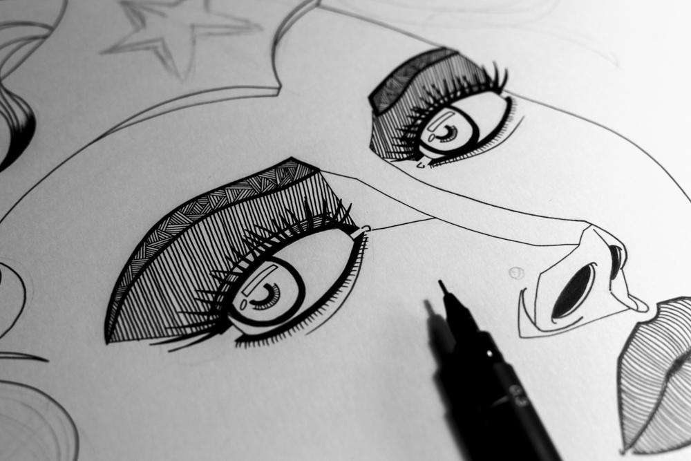 Wonder Woman fan art - Le derrière de la guerrière - Processus créatif 05 - Illustration : Jean-Baptiste MUS Illustrateur Toulon - Dimensions : 50x65 cm - Support : Papier Bristol blanc 250G/m2 - Technique : Crayon 2H, marqueur, feutre, stylo, encre de chine.
