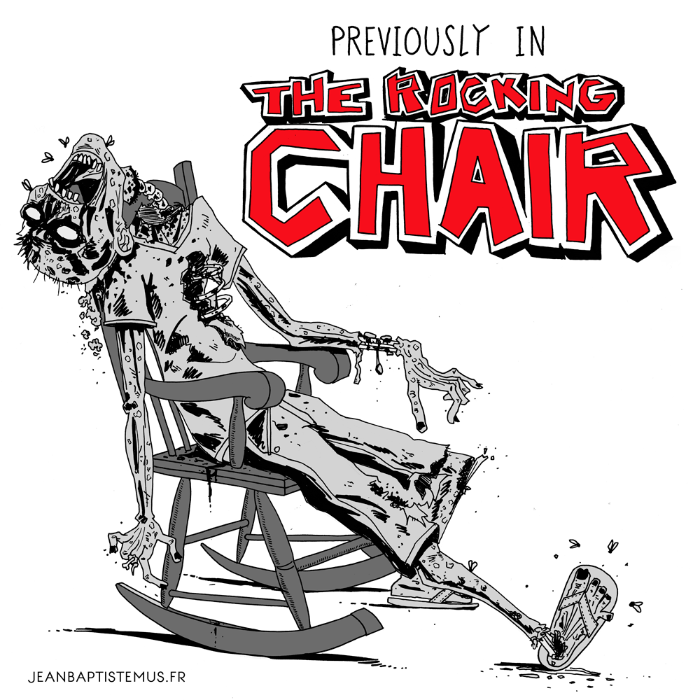 illustration the walking dead fan art rocking chair jb mus