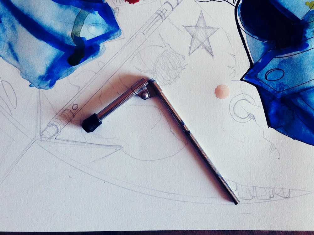Un chasseur sachant chasser - Processus créatif 03 - Illustration : Jean-Baptiste MUS Illustrateur Toulon - Dimensions : 50x65 cm - Support : Papier Canson blanc 200G/m2 - Technique : Crayon 2H, encre, feutre, marqueur, stylo, aquarelle, acrylique.