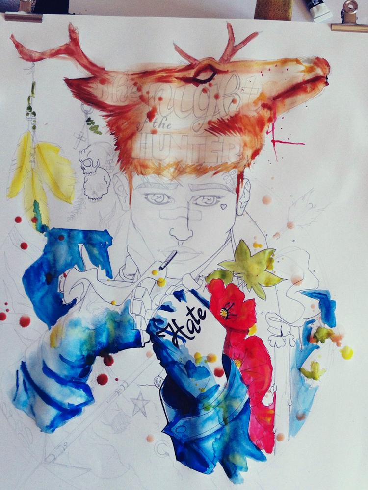 Un chasseur sachant chasser - Processus créatif 04 - Illustration : Jean-Baptiste MUS Illustrateur Toulon - Dimensions : 50x65 cm - Support : Papier Canson blanc 200G/m2 - Technique : Crayon 2H, encre, feutre, marqueur, stylo, aquarelle, acrylique.