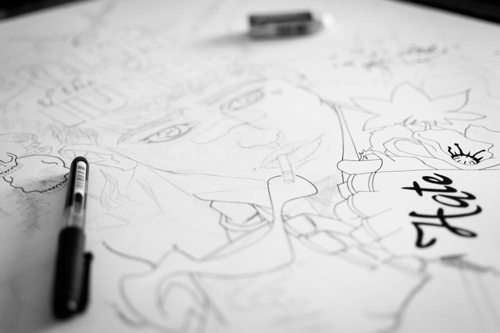 Un chasseur sachant chasser - Processus créatif 01 - Illustration : Jean-Baptiste MUS Illustrateur Toulon - Dimensions : 50x65 cm - Support : Papier Canson blanc 200G/m2 - Technique : Crayon 2H, encre, feutre, marqueur, stylo, aquarelle, acrylique.