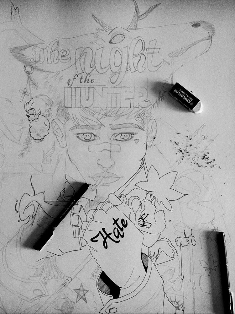 Un chasseur sachant chasser - Processus créatif 02 - Illustration : Jean-Baptiste MUS Illustrateur Toulon - Dimensions : 50x65 cm - Support : Papier Canson blanc 200G/m2 - Technique : Crayon 2H, encre, feutre, marqueur, stylo, aquarelle, acrylique.