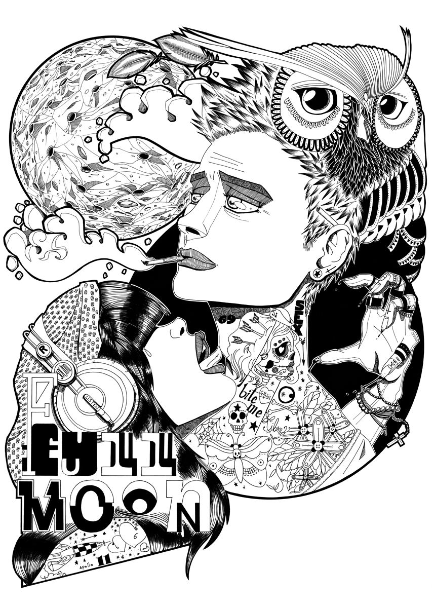 illustration full moon jb mus
