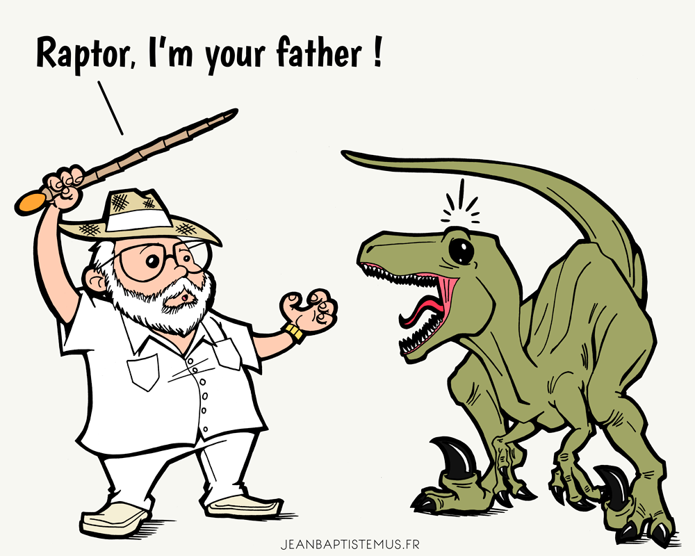 illustration raptor I am your father jurassic park star wars fan art jb mus
