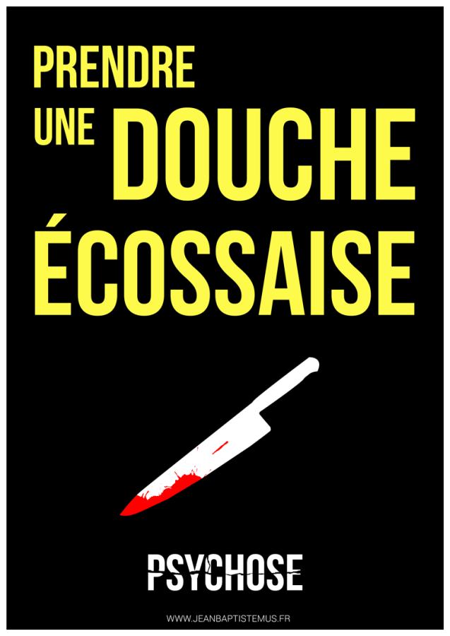 24 mots par seconde • Mashup fan art • Expression : Prendre une douche écossaise • Film : Psychose Graphisme : Jean-Baptiste MUS Illustrateur Toulon.