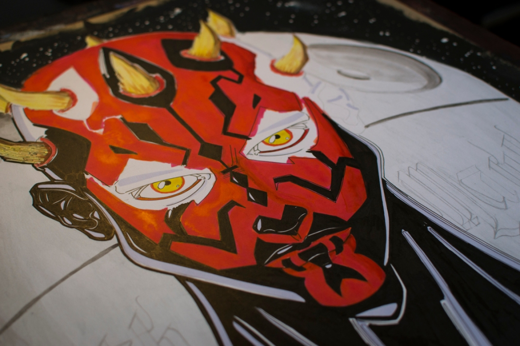illustration darth maul star wars fan art jb mus processus créatif 05