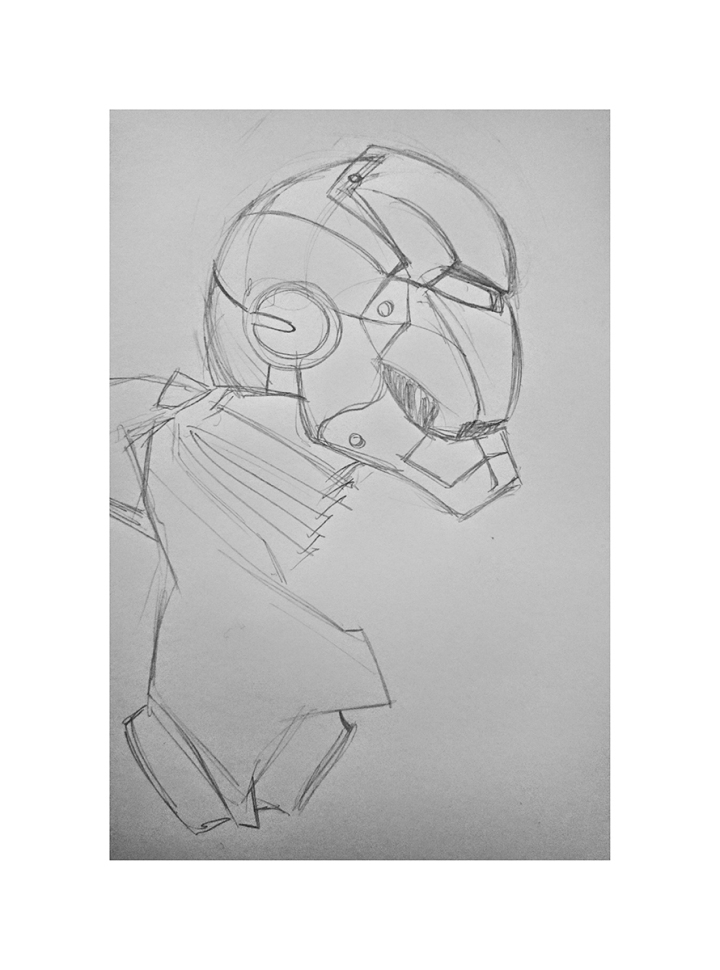 Iron Man • Croquis • Illustration: Jean-Baptiste MUS • Illustrateur Toulon • Dimensions: A4 • Support: Papier Clairefontaine Graf It 90G/m2 • Technique: Crayon, Rotring.